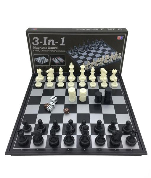 3in 1 Manyetik Büyük Satranç Tavla Dama Oyun Seti Satın Al